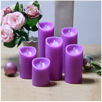 1pcs 7 5cm Dia 22cm H Light Purple Battery Operated Flameless Flickering Flashing Tealights LED Tea