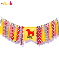 Red Dog Theme Banner Birthday High Chair Highchair Banner Party Photo Prop Backdrop Cake Smash Fire