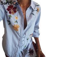 BerryGo Chic floral brodé femmes blouses Hiver à manches longues rayé chemise femmes tops 2016 Casual motif d'oiseau chemise femme