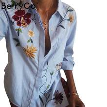 BerryGo Chic floral embroidered women blouses Winter long sleeve striped shirt women tops 2018 Casual bird pattern chemise femme(China)