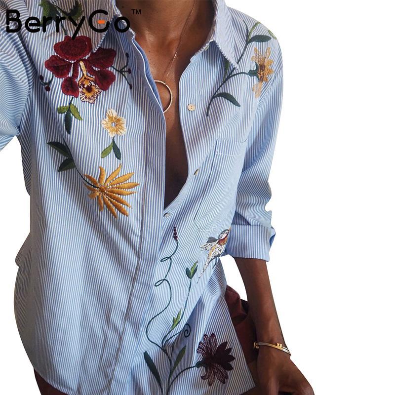 Berrygo Chic цветочной вышивкой Женские блузки зима Длинные рукава рубашка в полоску женские топы 2016 Повседневное птица шаблон сорочка Femme
