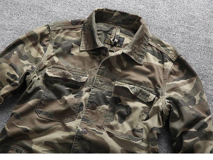 camisas militares primavera outono algodão camuflagem manga