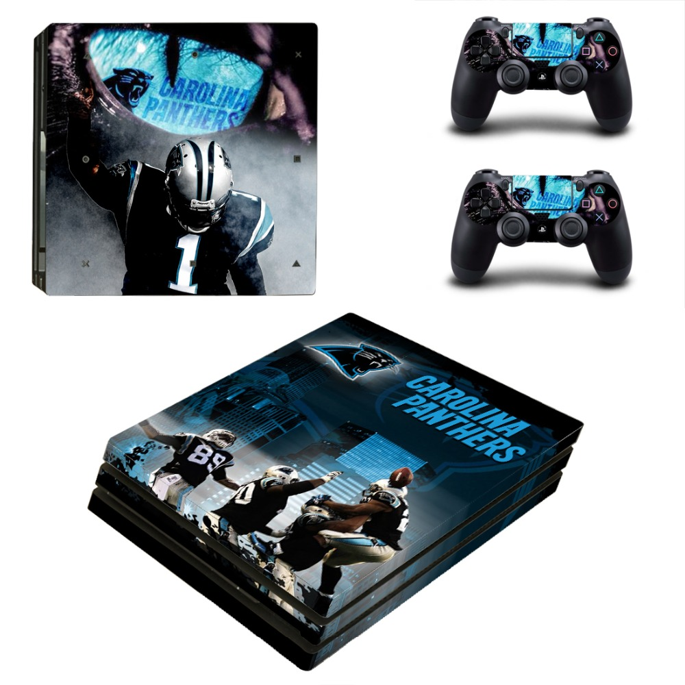 Carolina Panthers PS4 Pro Skin Sticker Decal for Sony PlayStation 4 Console and 2 Controller PS4 Pro Skin Sticker Vinyl