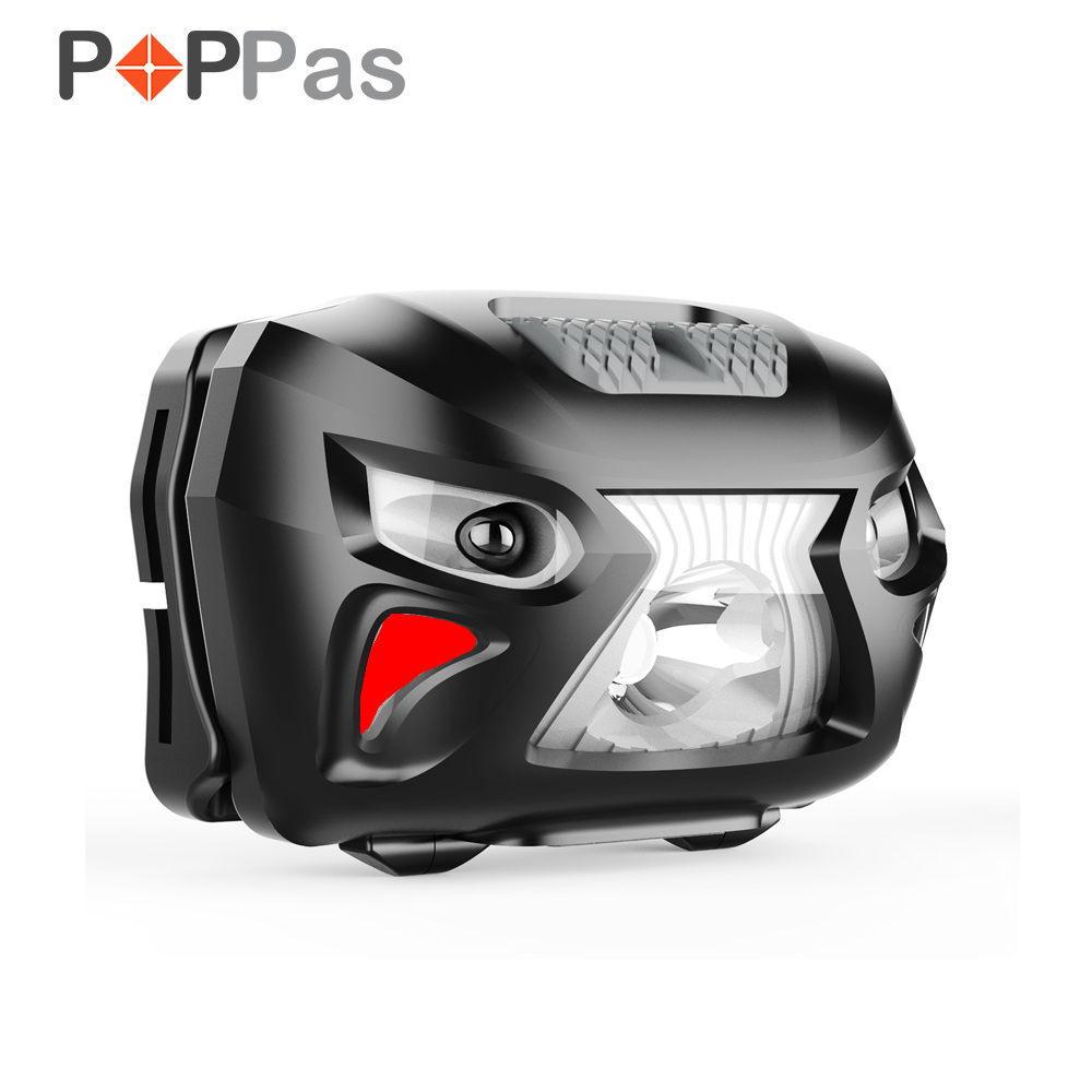 POPPAS Rechargeable LED HeadLamp Body Motion Sensor Bicycle Head Red light mode Outdoor high quality 2 mode power 5w led headlight 48000lx outdoor fishing headlamp rechargeable hunting cap light