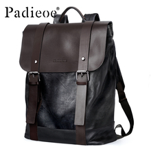 Padieoe Vintage Luxury Men Backpack Split Leather Casual Backpacks Male Travel Bags