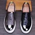 Hombres casuales etapa discoteca vestido de zapatos de cuero suave impreso slip on zapatos plataforma pisos zapatos mocasines Mocasines oxfords brogue