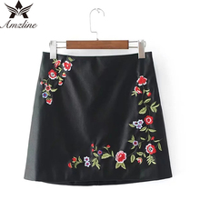Amzline 2017 Vintage Floral Embroidery Leather Skirts High Waist Sexy saia  A-Line Short Skirts Womens PU Bodycon Pencil Skirt
