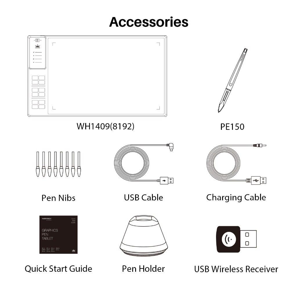 Huion GIANO WH1409 de 14 pulgadas de los niveles de 8192 inalámbrico Digital tabletas gráficas de Pen Tablet animación tableta de dibujo - 5