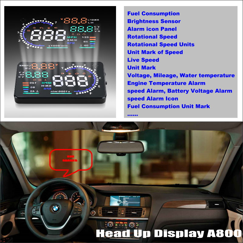 Car HUD Head Up Display For For BMW X3 E83 X5 E53 E70 X6 E71 - Safe Driving Screen Projector Refkecting Windshield bigbigroad car hud head up display windscreen projector obd2 for bmw x5 e53 e70 f15 g05 g30 g31 g38 x4 f26 g02 x6 e71 e72 f16