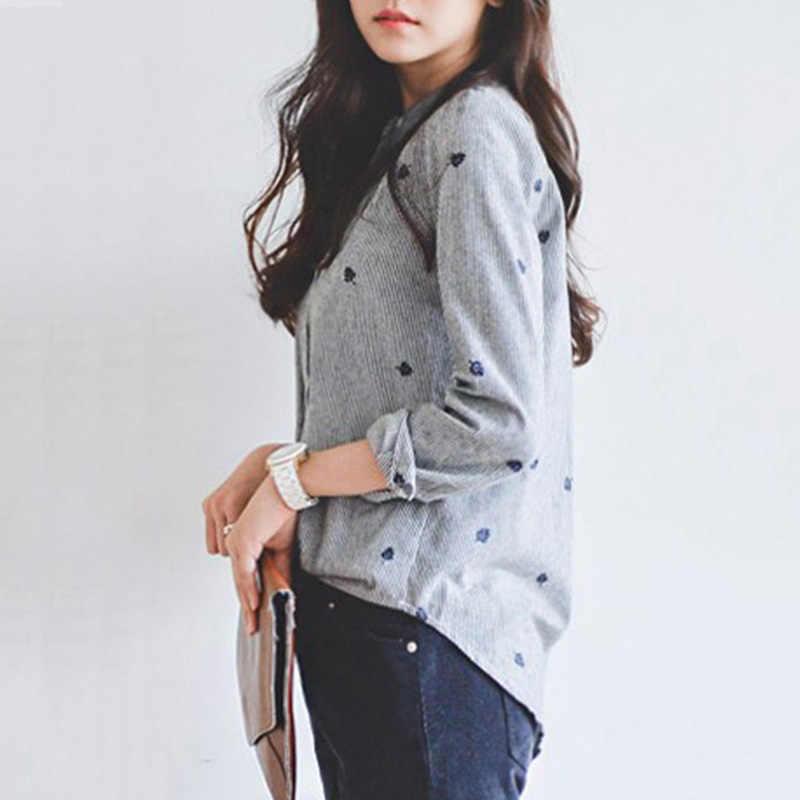 コットンリネンストライプ刺繍女性ブラウストップ長袖スタンド襟葉シングルブレストシャツの女性トップス