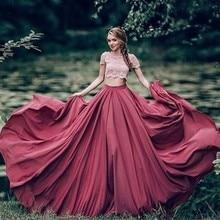 Ретро стиль длинная юбка макси на заказ молния линия талии длина пола шифоновая юбка плиссированные юбки для женщин