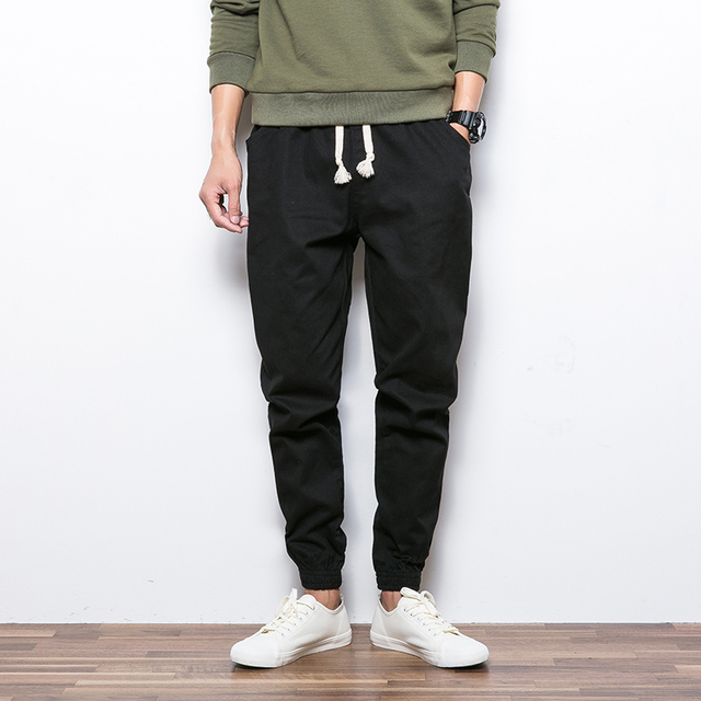 Novo 2017 Outono e inverno calças feixe homens longas calças slim calças skinny harem pants calça casual masculino push