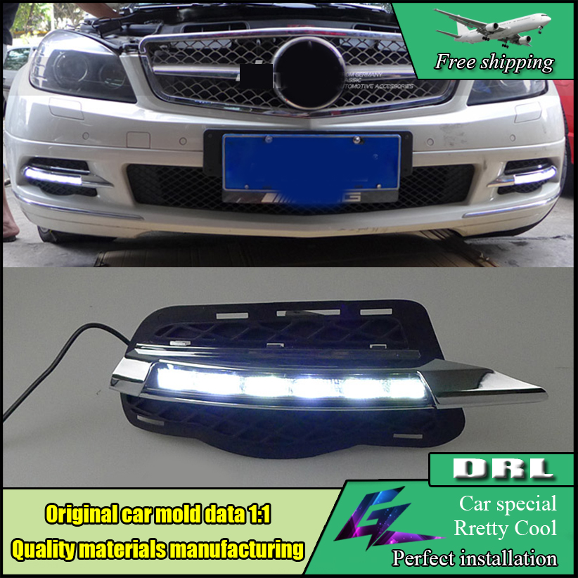 Car Styling LED DRL For Mercedes Benz W204 C Class C180 C200 C250 C260 C300 2008-2010 LED Bumper Daytime Running Lights Daylight akd car styling for mercedes benz c class w204 led star light drl front grille led logo hollow emblem daytime running light