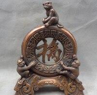 song voge gem S3279 8 Chinese Pure Bronze Decoration Zodiac FengShui Fu Zi 3 Monkey King Statue