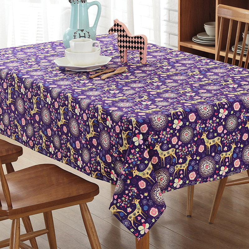 christmas new cotton cartoon table cloth party living room