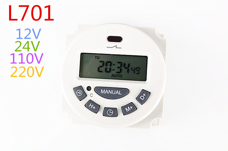 Free shipping din rail timer timer minute Digital LCD Power Timer Programmable Time Switch Relay rele 12V 24V 110V 220V 12v led display digital programmable timer timing relay switch module stable performance self lock board
