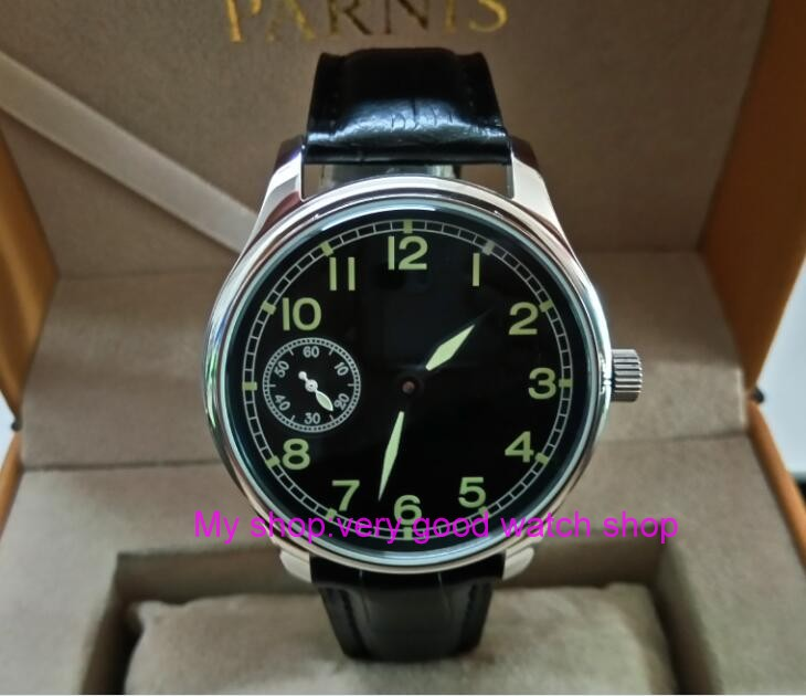 цена на 44mm PARNIS black dial Asian 6497 17 jewels Mechanical Hand Wind movement men's watch green luminous Mechanical watches zdgd274A