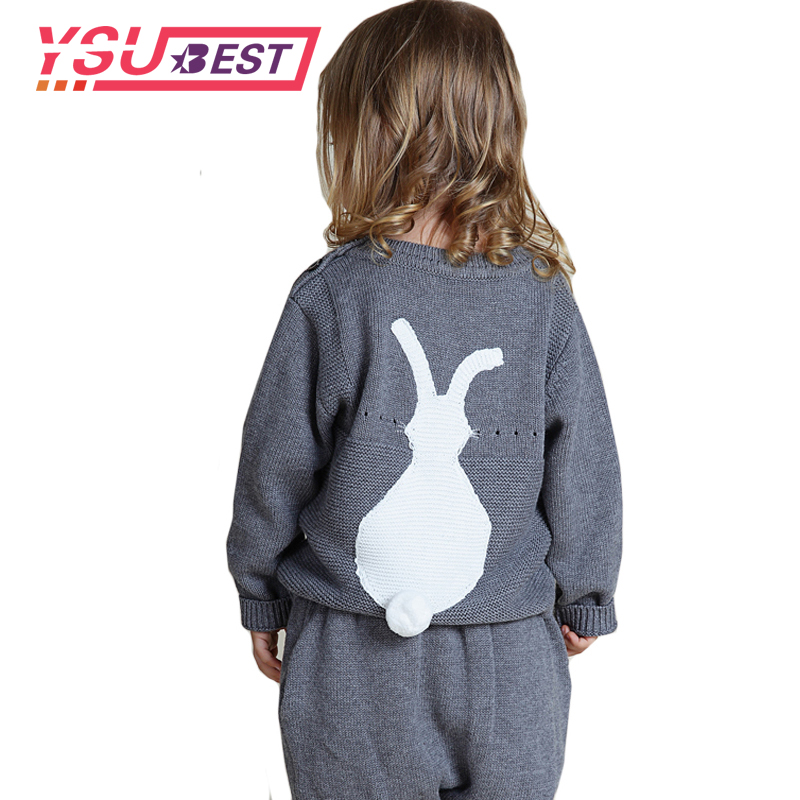 Autumn Girls Sweaters Knitted Cute Bunny Baby Sweater +PP Pants Suit 1-5Y Kids Rabbit Pattern Clothes Baby Sweater Girls Sweater baby baby 2018 new baby korean version striped pp pants suit