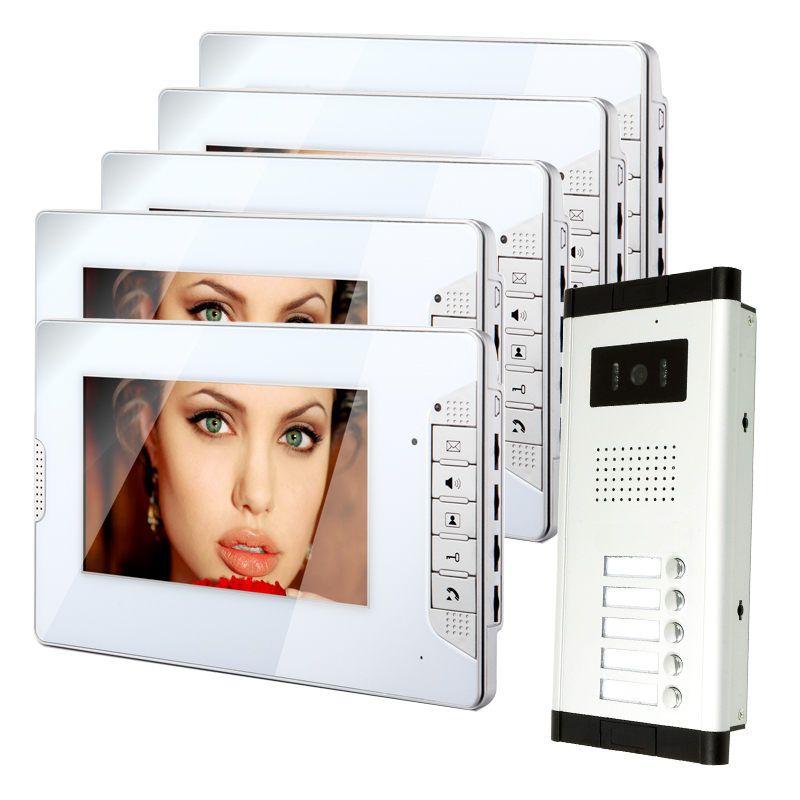 FREE SHIPPING Apartment 7 LCD Color Video Door Phone Intercom System 5 White Monitors + 1 Doorbell Camera for 5 Family In Stock new apartment doorbell intercom 7 lcd touch key video door phone intercom system 1camera 10 monitors for 10 house free shipping