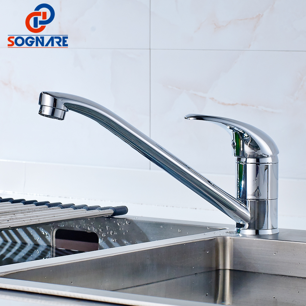 SOGNARE Brass Kitchen Faucets Mixer 360 Degree Swivel Cold and Hot Kitchen Tap Single Hole Water