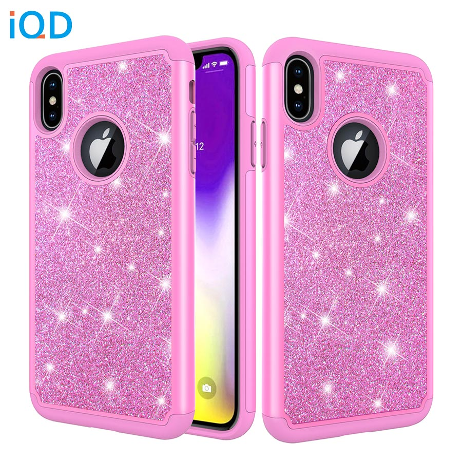 IQD Case For IPhone X XR XS Max Cover Glitter Shiny For Iphone 8 7 6s 6 Plus Protective Case Hard Shell Soft Rubber Rhinestone X