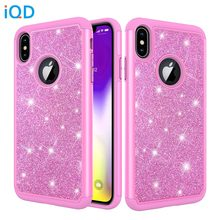 цена на IQD Case For iPhone X XR XS Max Cover Glitter Shiny for iphone 8 7 6s 6 Plus Protective Case Hard Shell Soft Rubber Rhinestone x