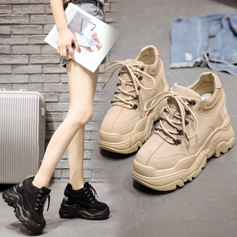 2019 frühjahr Hohe Plattform Stiefel 12 CM Hohe Ferse Frauen Dicke Sohle Schuhe Leder Keil Turnschuhe Wasserdicht Atmungsaktiv Casual Schuhe | Spargut