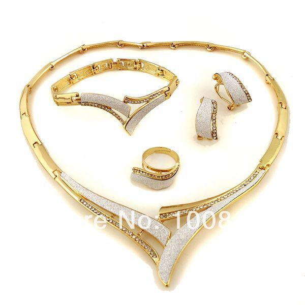 Free shipping italian gold plated jewelry sets wedding designs gold