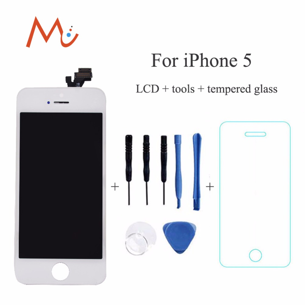 Подробнее о 100% Brand NEW white black lcd display for iphone 5 5G touch screen Digitizer assembly No Dead Pixel+ tools + tempered screen 10pcs free dhl tracking no 100% tested fir brand new 5 5 for iphone 6 plus lcd screen display digitizer assembly white black