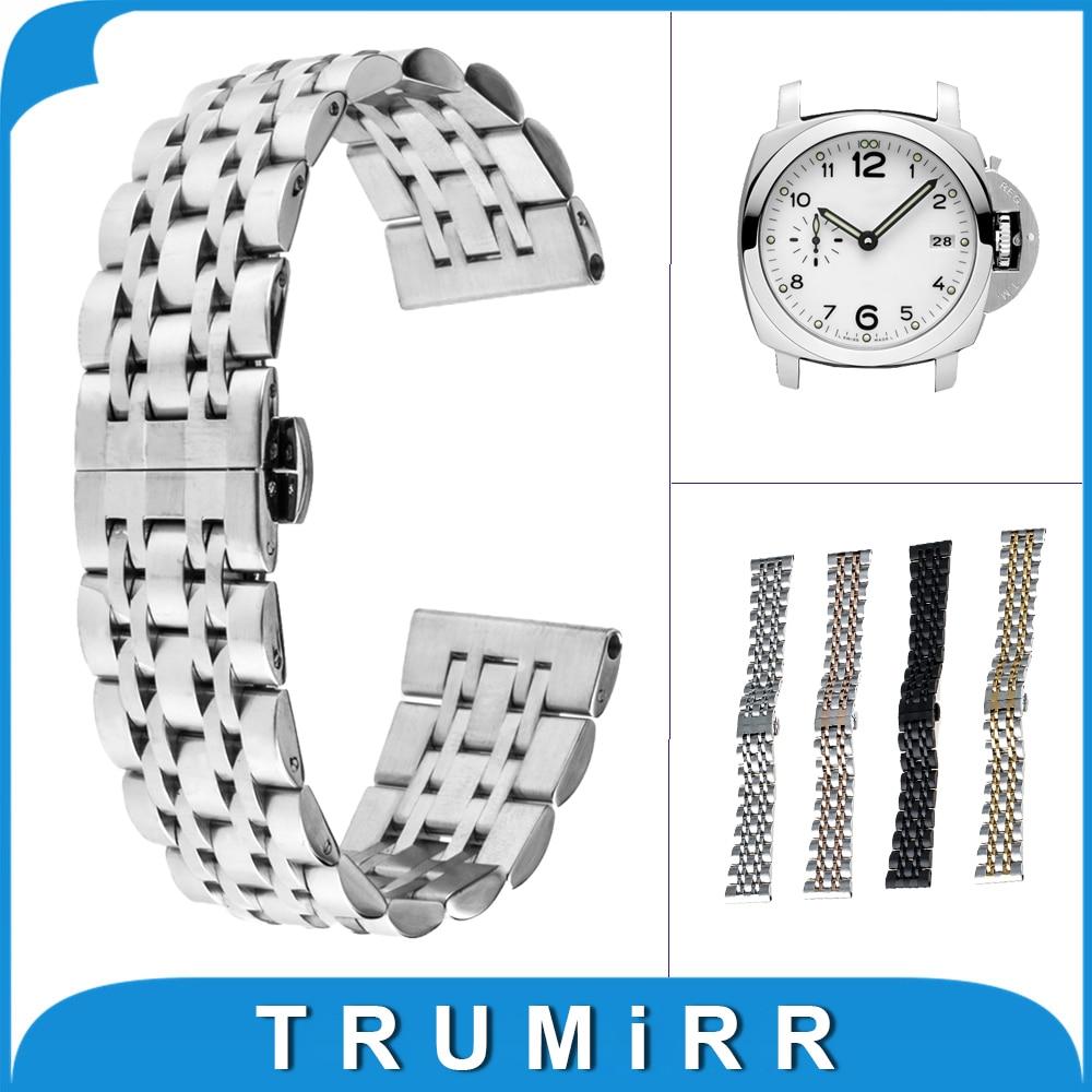 22mm 24mm Stainless Steel Watchband Butterfly Buckle Strap for Panerai PAM Luminor Radiomir Watch Band Wrist Belt Bracelet +Tool