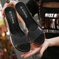 Прозрачный ПВХ Peep Toe Склон Каблуки Женщин Клинья Сандалии Тапочки 2016 Летние Новая Мода Обувь Большой Размер 40 41 Доставка
