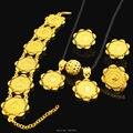 Nova Chegada Conjuntos de Jóias Moeda Etíope Ouro 24 K Banhado A Ouro Colar/Pingente/Brinco/Anel/Bnagle Nupcial da Jóia Do Casamento africano