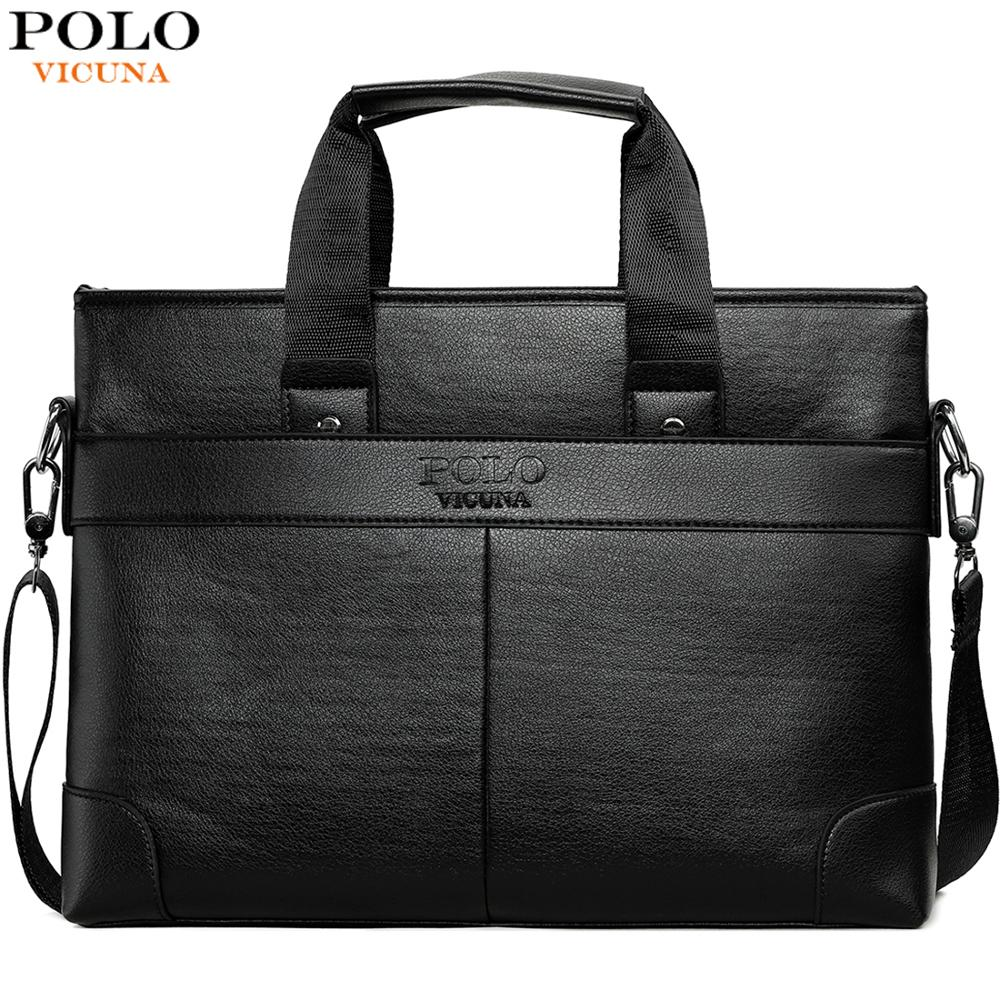 VICUNA POLO Leisure Business Leather Mens Briefcase Bag For A4 Document Luxury Brand Crossbody Handbag For Men Shoulder Bag