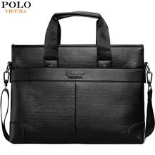 VICUNA POLO Leisure Business Leather Mens Briefcase Bag For A4 Document Luxury Brand Crossbody Handbag For Men Shoulder Bag(China)