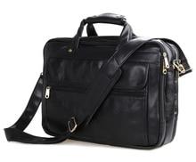 "Maxdo Black Men Messenger Bag Real Genuine Leather Briefcase Portfolio 15.6"" Laptop Bags Business Travel Bag #M7146A"