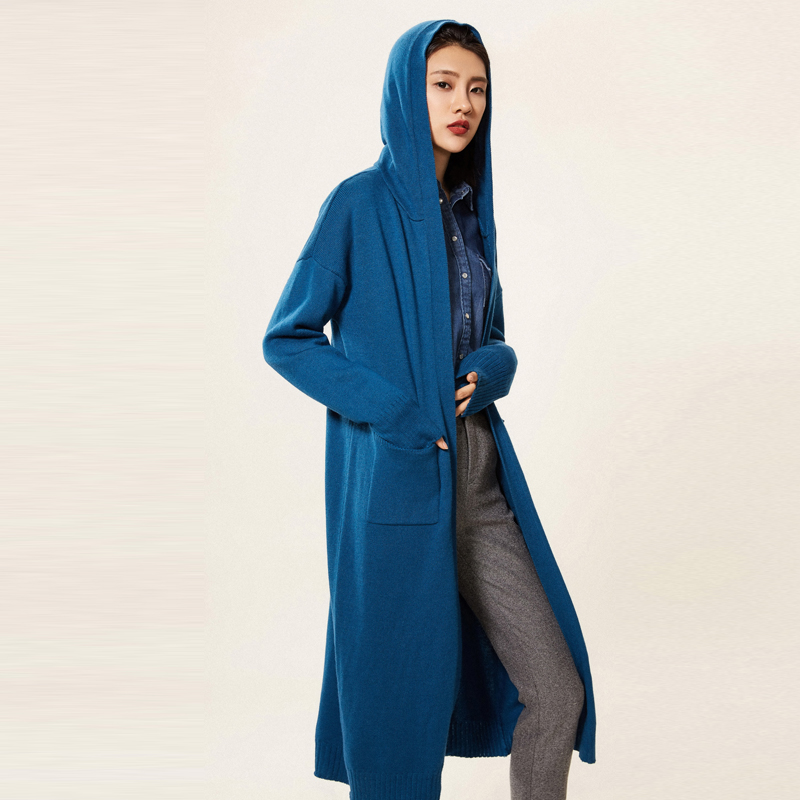 adohon 2018 womens winter Cashmere sweaters and auntmun women knitted Cardigan High Quality Warm Female Hoodded