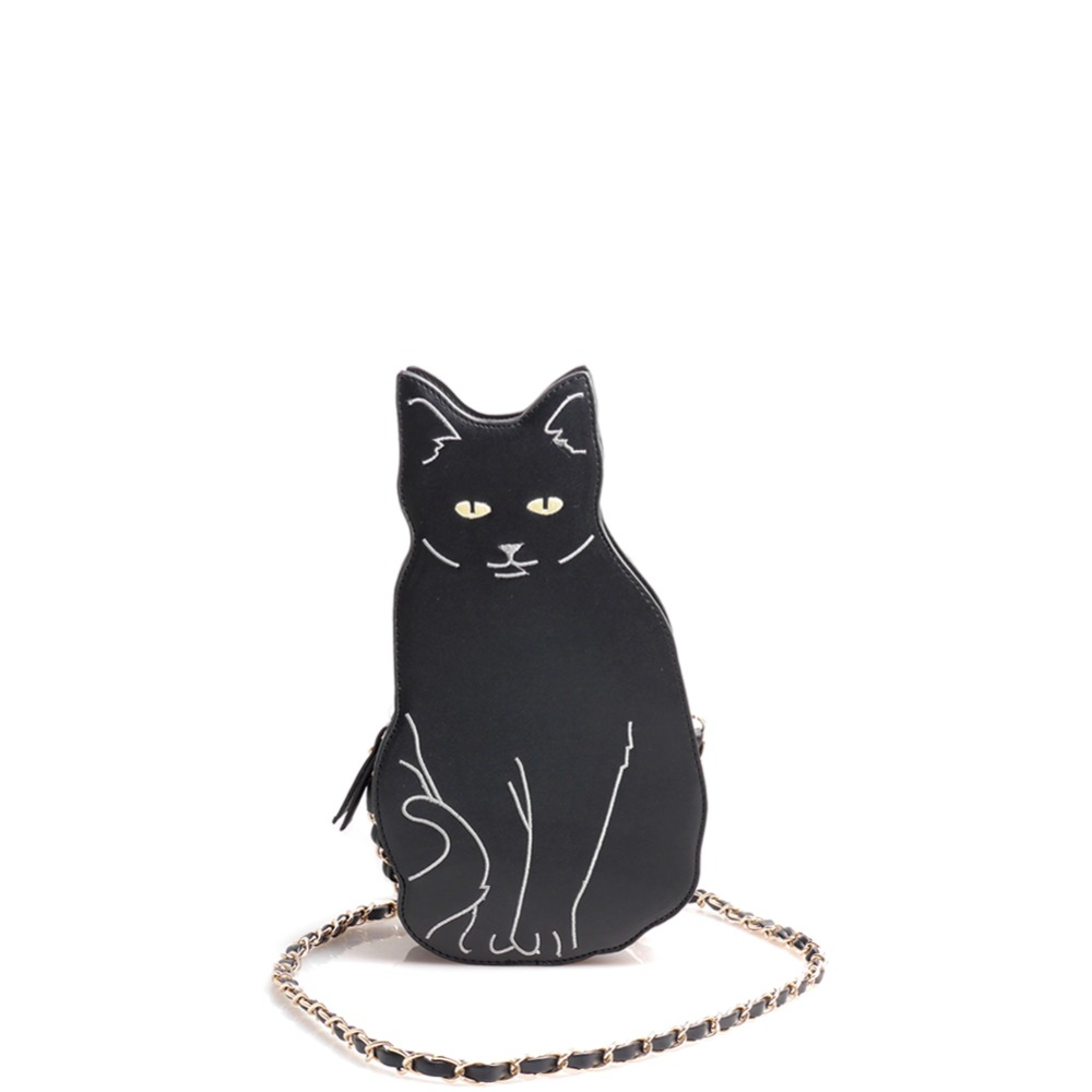 New BLACK CAT novelty crossbody chain bag Women&#8217;s Girl Street Fashion Animal Cute Cool Unique Fun <font><b>Cross</b></font> <font><b>Body</b></font> <font><b>Purse</b></font> Messenger Bag