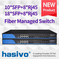 Interruptor ethernet gestionado de fibra 16SFP 8GE interruptor gigabit 16 puertos SFP 8 Puerto 1000M RJ45 10SFP 8GE gestión Ethernet interruptor