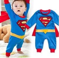Christmas New 2013 Winter Romper Newborn Baby Romper Cartoon Superman Baby Bodysuit Baby Overall Halloween Costume