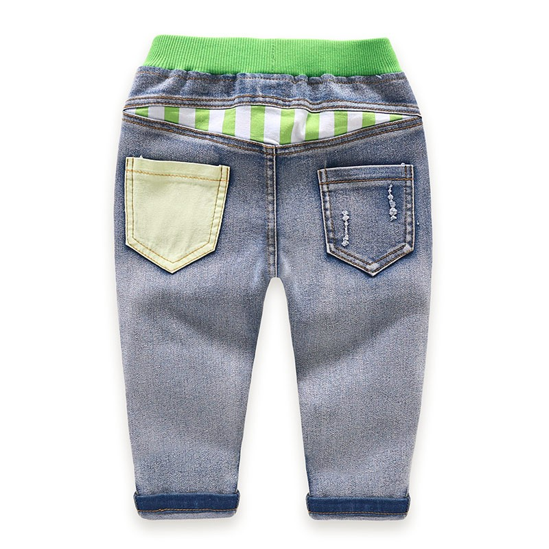 Children Jeans Boys Girls Sring Autumn Full Length Jeans Pants Cotton Fashion Casual Style with convenient Elastic Waist 2