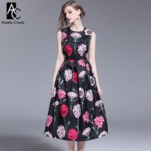 95ba54474f S-XXL primavera verão mulher vestido rosa flor padrão de impressão preto  vestido de baile vestido de comprimento bezerro sem man.