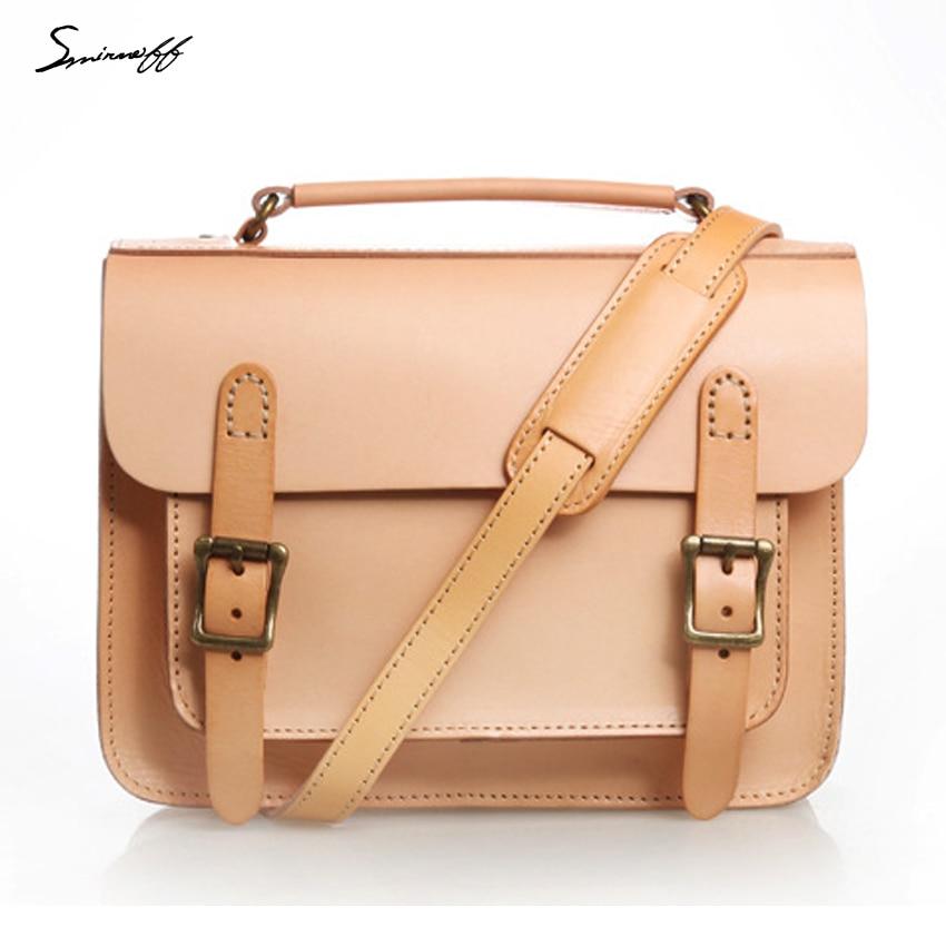 Smirnoff Handmade Classical Women Satchels Bags Custom name Vegetable tanned Leather Women Messenger Bag Designer Handbag Сумка
