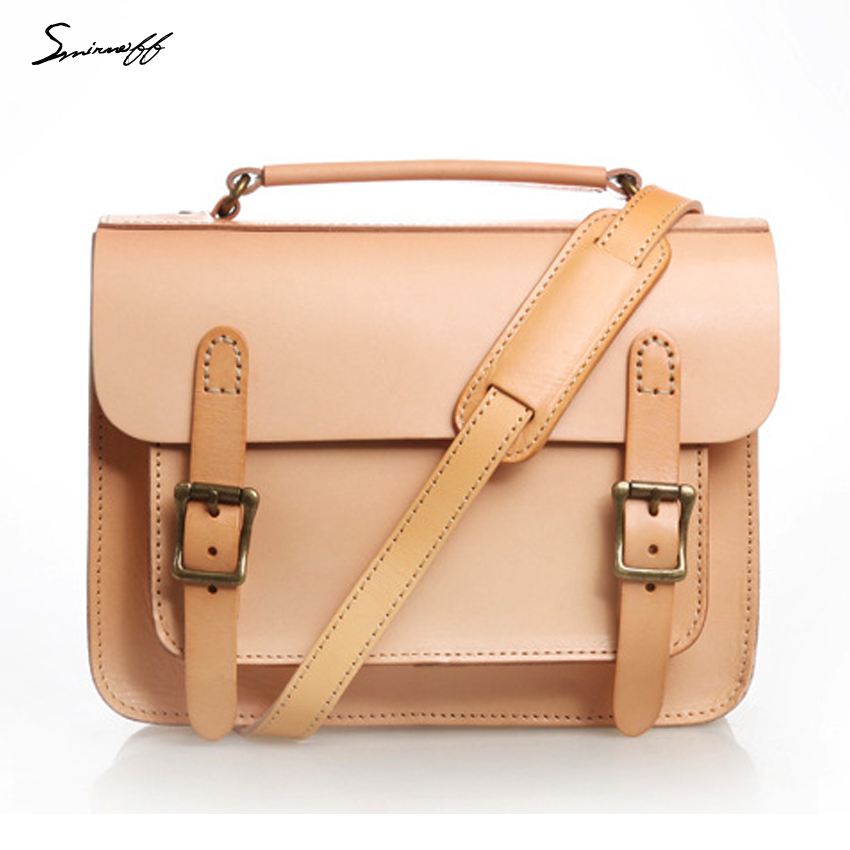 a89a06599cd4 Smirnoff Handmade Classical Women Satchels Bags Custom name Vegetable  tanned Leather Women Messenger Bag Designer Handbag