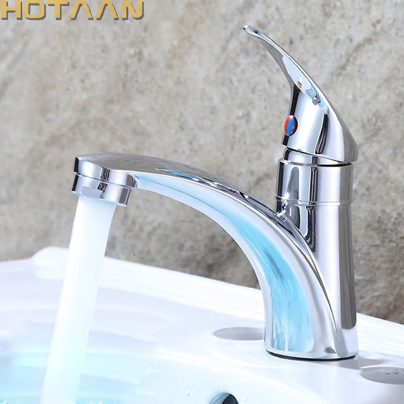 HOTAAN Free Shipping Single Handle One Hole Bathroom Basin Faucet  Single Cold Copper Vessel Sink Water Tap Mixer Chrome Finish