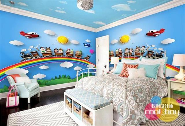 Custom 3d photo wallpaper kids room mural Cartoon sunlight
