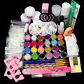 Full 25 Nail Art Acrylic Powder Primer Glitte Liquid TIP Brush Glue Dust KITS #13set