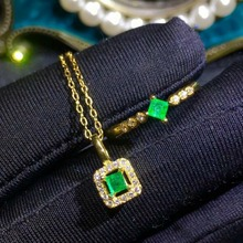 SHILOVEM 925 sterling silver Natural Emerald rings pendants wedding women wholesale new gift none nceklace  ltz030389agml