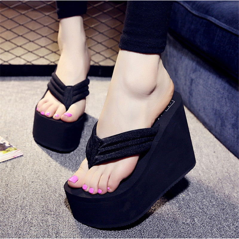 High Heels Beach Sandals Soild Wedge  2016 New Women Summer Shoes Platform Flip Flops Woman Shoes Ladies Thick High Pantufas купить