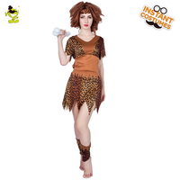 Ancient Leopard Printed Cavewoman Costumes Adult Women Halloween Carnival Party Classical Primitive Lady Cosplay Fancy Dress