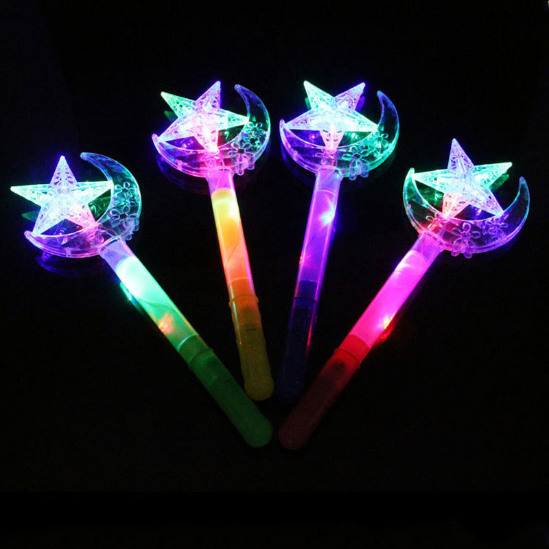 2017 LED Flashing Stick Children Girls Fairy Magic Wand Sticks Light up Star Moon Cheer Party Glow Wand Weapon